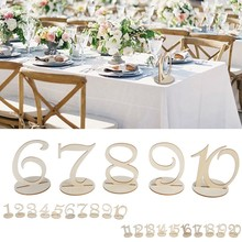 Number 1-20 Table Numbers with Holder Base for Wedding Home Decoration Wooden Party Table Direction Signs Event Supplies, 1 Set