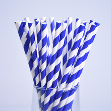 25pcs/lot Blue White Striped Spiral Design Paper Drinking Straws For Kids Birthday Wedding Decorative Party Drinking Paper Straw