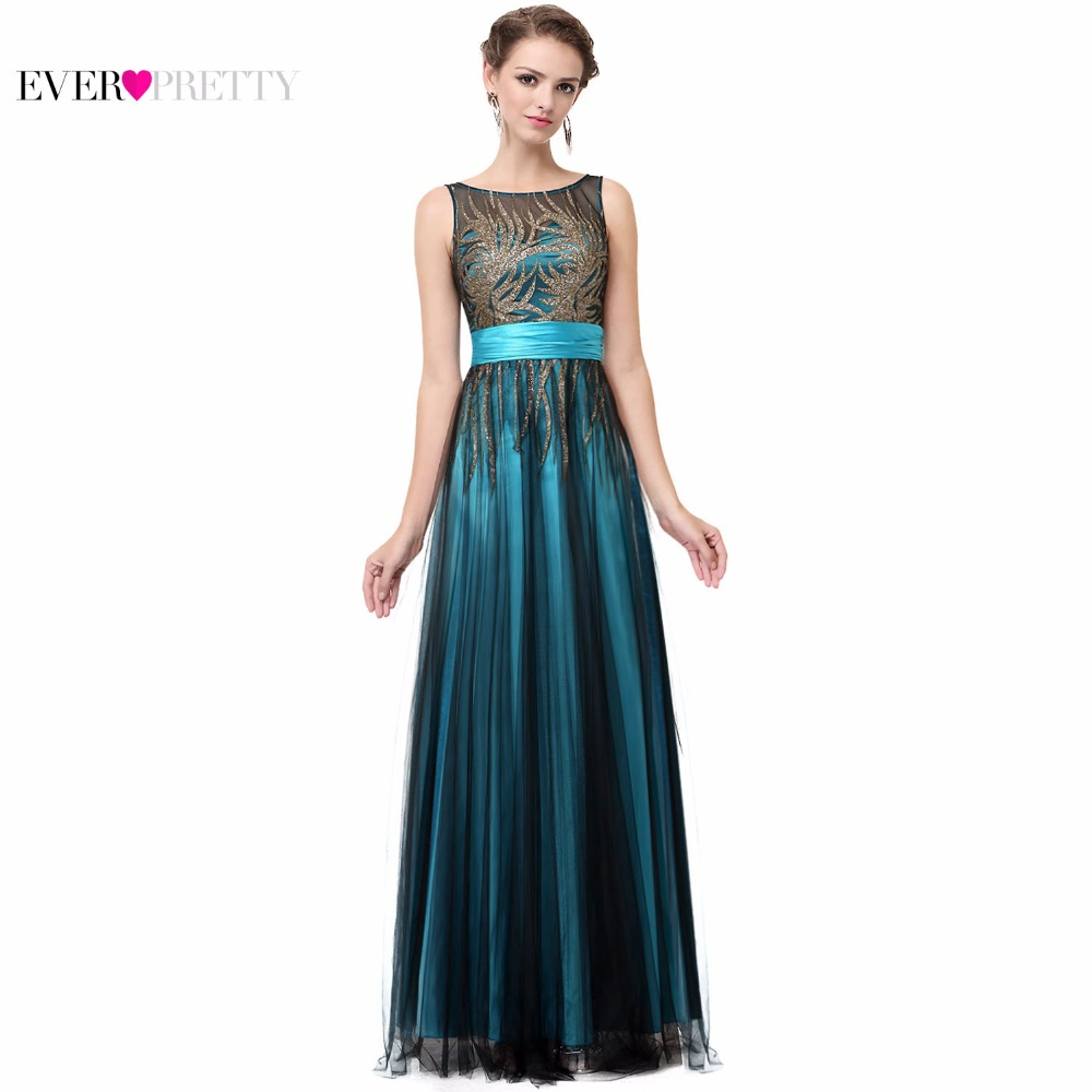 Elegant Evening Dresses A Line Sleeveless Green Ever Pretty EP08740 Evening Round Neck Long Dresses Women 2018 New Arrival Gowns