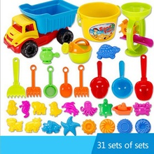Kid's Beach Sand Toy Basics Including Bucket Sifter Rake and Shovel 21 & 31 Pcs Set Baby Beach Sand Toys Sets