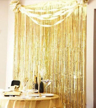 3' X 8' ft Metallic Fringe Shimmer Foil Curtain Party Tinsel Backdrop Photography Room Wedding Birthday Event Hollaween Decor(China)