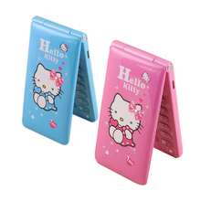KUH  Flip phone Dual SIM Card GPRS Breath Light touch screen Cell Phone women girl MP3 MP4 cartoon hello kitty mobile phone