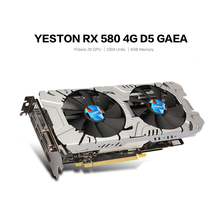 Original Yeston RX580 GPU 4GB 256bit DDR5 Graphics Card Triple Fans 7000MHz two fans Support DVI/HDMI