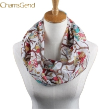 Chamsgend Newly Design Women Ladies Owl Cartoon Print Scarf Warm Wrap Shawl O Neck Rings 160405 Drop Shipping Chamsgend(China)