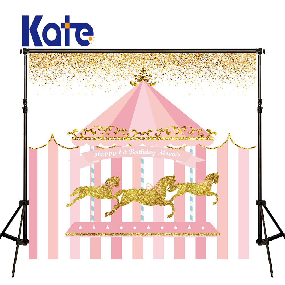 KATE Photography Backdrops Children Birthday Photo Pastel Pink Background Amusement Park Background Customized Birthday Backdrop<br>