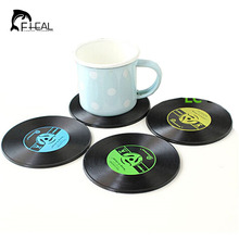 FHEAL 4Pcs/set Retro Vinyl CD Record Drinks Coasters Table Cup Mat Coffee Placemat Silicone Printed Pattern Anti-fade Home Decor