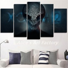 Abstract 5 Piece Modular Robot Canvas Prints Wall Painting Pictures Art Print Posters for Library or Home Decor Quadros Hot Sale