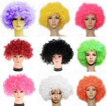 200PCS Halloween Disco Curly Wig Rainbow Afro Wigs Clown Child Adult Costume Football Fan Wig Hair Fan Fun