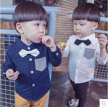 autumn spring kids girls boys shirts baby turn down collar long sleeve patchwork single breasted white dark blue shirt children