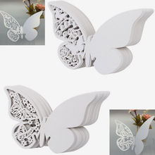 New 50pcs Butterfly Place Escort Wine Glass Cup Paper Card for Wedding Party Home Decorations White Name Cards