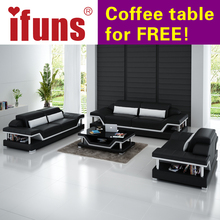 IFUNS modern sectional sofa genuine italian leather u shaped luxury sofa sets living room furniture 1-2-3 large house (fr)