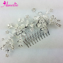 Free Shipping New Charm Fashion Rhinestone Floral Side Comb Silver Clear Hair Comb Bride Comb Tiara