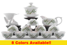 Hot sale bone porcelain china tea set,small kung fu teaset,1gaiwan with saucer+ 1fair cup+ 1filter with holder+ 10cups