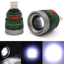 3 Mode Mini Tactical USB Rechargeable Flash Light Torch Zoom Powerful LED Flashlight Outdoor Travel Lamp ALI88