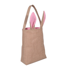Cute Jute Burlap Bunny Rabbit Ear Shape Bags For Kids Gifts In Easter New Year Birthday Party Festival Decoration