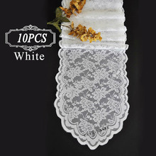 "Shipping FREE 10PC Table Runners hessian lace runner for wedding party 13.5X108"" Black White Lace table Runner of Wedding Decor"