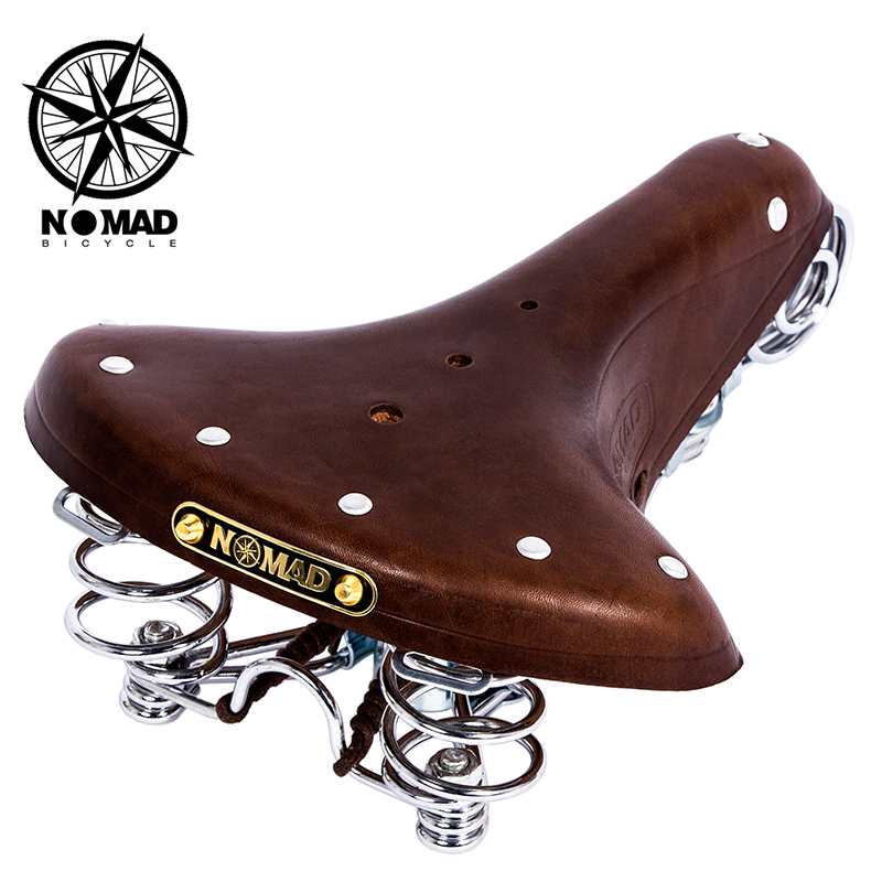 Classic Vintage Black Genuine Leather Bicycle Cycling Saddle Comfort Universal