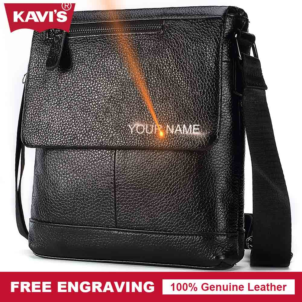 KAVIS Messenger Bag Mens Shoulder Bag Genuine cow Leather Black Handbag Bolsas Crossbody Sling Tote Chest Briefcase Male Zipper<br>