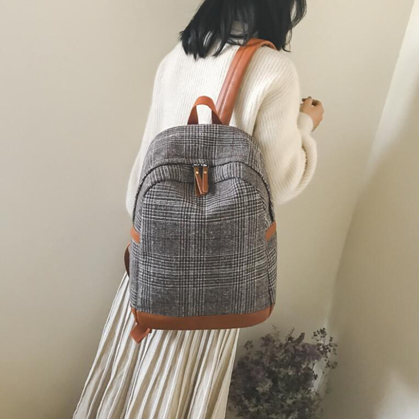 M639 2018 The New School Of Woolen Plaid Backpack Simple Wind Hand Large Backpack<br>