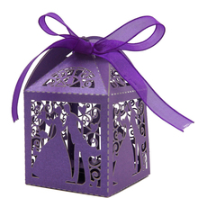 KAZIPA 50pcs Mr & Mrs Bride & Groom Gift Candy Cake Favor Boxes Decoration Box for Wedding Party Favor Purple