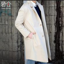 S-6XL!!! 2017 Big yards men's windbreaker New men coat Han edition easy leisure fashion rice white trench coat lapels(China)