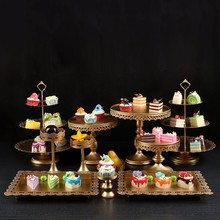 Luxury Gold Wedding Dessert Tray Cake Stand Cupcake Display Party Supply Wedding Props 12PCS / Set