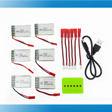 MJX X800 Lipo battery 3.7v 750mah JST plug batteries 6pcs with USB charger and cable for MJX X400 X300C rc drone parts