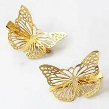 1 Pcs Headwear Hair Grips Metal Gold Butterfly Hair Clip Hairpins Barrette Jewelry For Women Girls Hair Accessories(China)