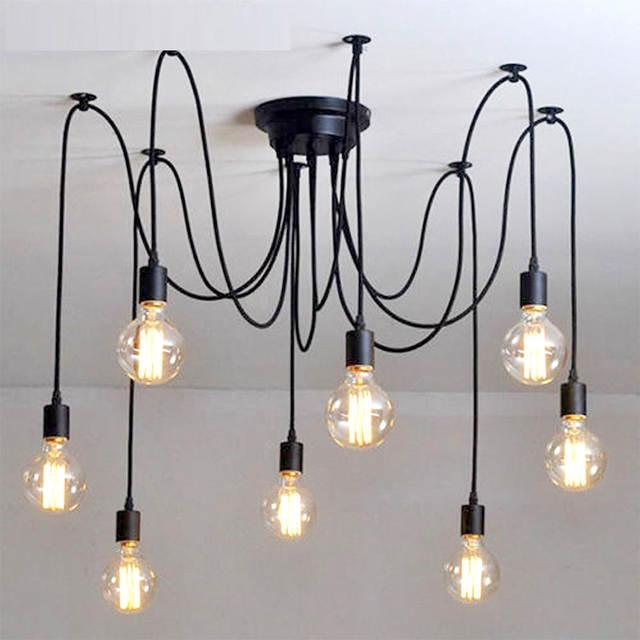 Online Shop Vintage Lampadario Loft Nero Spider hanglamp lustro FAI ...