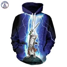 Mr.1991INC Hot Fashion Brand Clothing Men/women Hoodies Cap Hooded 3d Men Sweatshirt Print Cat Lightning Meow Star People Hoody(China)
