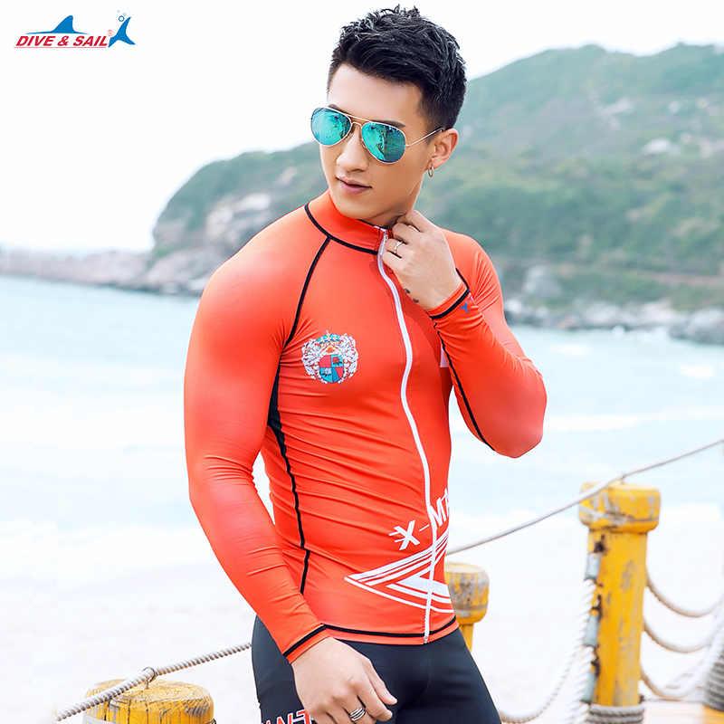 0c0df9b33d Dive   Sail Men s Rash Guard with Zipper Long Sleeve UV Protection Men s Diving  Shirt Wetsuit