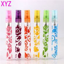 6Pieces 10ml Sex Mini Refillable Portable Empty Spray Glass Perfume Bottle With Printing Flower 10cc Sample Parfum Bottles