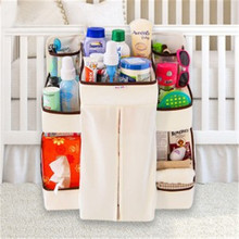 Home Cloth Storage Bag Baby Bed Hanging Shelf Diaper Pocket For Cribs Nappy Bottle Toy Organization Nursery Closet Storage Bags(China)