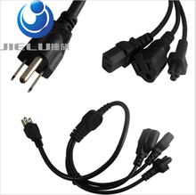 5 pcs ,Power Adapter Cable ,US Plug 3-Prong Male Power Cable Cord Adapter to C13+C5+5-15R Female 1in3(China)