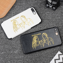 Simple Gilding Cortex PU Cases for iPhone 6 6s 6plus 7 7Plus Cases Lovers Couple PU Leather Silicone soft case black white cover