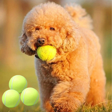 3 Balls/Set 6.5CM Tennis Ball For Pet Small Dog Cat Chew Toy Plush Rubber Puppy Ball Outdoor Cricket Play Toy Honden Hpeelgoed(China)