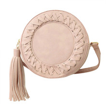 Fashion Round Women Tassel Bag Woven Crossbody Bags For Womens Shoulder Bag Ladies Cute Knitting Circular Women Messenger Bag