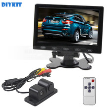 DIYKIT 7 inch Touch Button Ultra-thin Car Monitor + Rear View Car Camera Wireless Parking Radar Sensor Assistance System