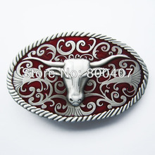Retail Distribute Red Longhorn Bull Western Belt Buckle BUCKLE-WT015RD Free Shipping(China)