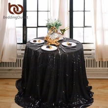 BeddingOutlet Black Sequin Tablecloth Round Table Cloth Sparkly Bling Table Linens Wedding Decoration Luxury Table Cover Party