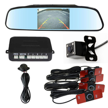 3in1 Car Video Reverse Parking Sensor Assistance Connect Rear view Camera Can Display Distance on 4.3 Inch Car Mirror Monitor(China)
