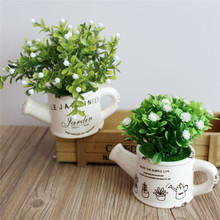 artificial plastic flowers with Ceramics vase cute artificial flower set home decoration for wedding flowers decoration
