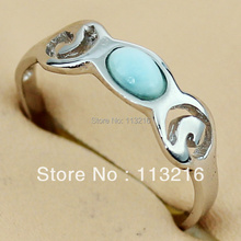 New Arrivals Wholesale Classic Fashion Larimar Jewelry Silver Plated RING R3541 sz# 6 7 8 9(China)