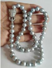 Hot selling free shipping****elegant 10-11mm south sea round silver grey pearl necklace