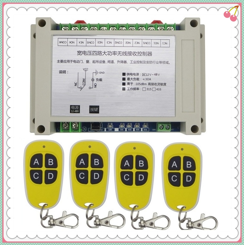 Wide voltage DC 12V 24V 36V 48V 10A 4CH RF Wireless Remote Control switch High quality and security 1*receiver+ 4* transmitter <br>