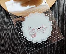 "100pcs/lot New product ""sweet""plastic cookie packaging 8x8cm cupcake wrapper bags  self adhesive bags"