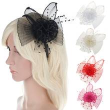 5color Women Hair Accessories European Style Veil Feather Fascinator Black Cocktail Party Wedding Headband Hat Bride Headwear