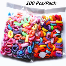 New Arrival 100 Pcs/Pack Candy Color Girls' Elastic Hair ties Solid Stripe Hairbands Kids Hair Accessories