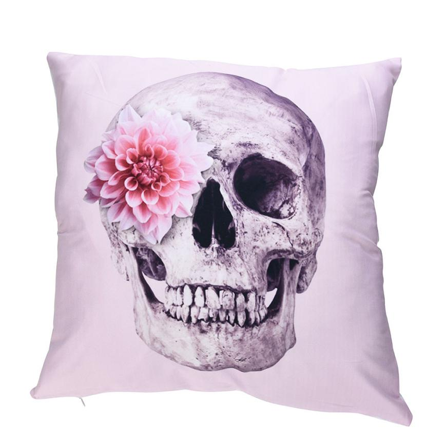 Skull Design Polyester Throw Pillow Cases 45*45cm