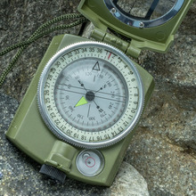 Waterproof Noctilucent Type Army Outdoor Use Military Travel Geology Pocket Prismatic Compass With Pouch